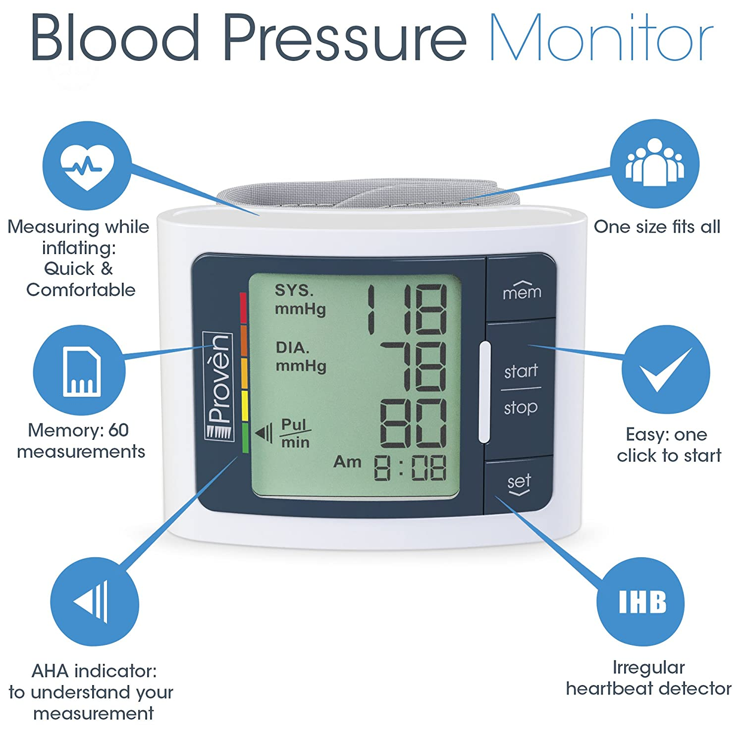 Digital Automatic Blood Pressure Monitor Wrist Large Fast Pulse Detector Screen Comfortable Cuff Reading Machine Fda Approved Bp Monitors Top Rated