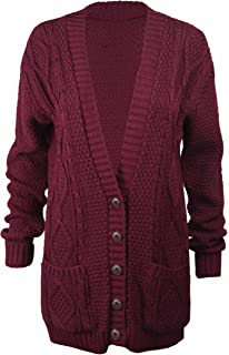 0ed5bd7ac9 OgLuxe Women s Ladies Long Sleeve Pocket Cable Knit Chunky Cardigan ...