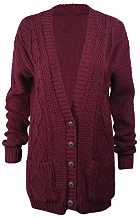 New Womens Everyday Long Sleeve Button Top Ladies Chunky Aran ...