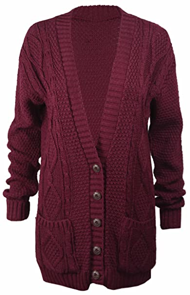 Purplehanger Womens Long Sleeve Cable Knit Chunky Cardigan At