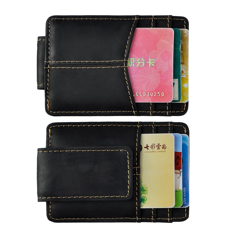 Le'aokuu Genuine Leather Magnet Money Clip Credit Card Case Holder Slim Wallet W1078