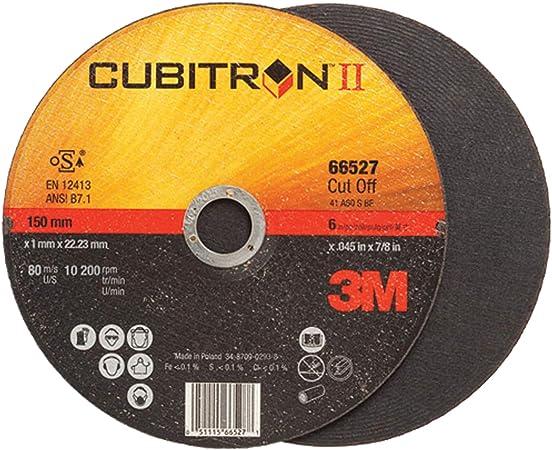 Type 1 13300 Max RPM Straight Thickness 0.045 in 66525 4 1//2 in Dia 7//8 in Center Hole 3M Cubitron II COW Ceramic Cutoff Wheel PRICE is per WHEEL - 60 Grit Medium Grade