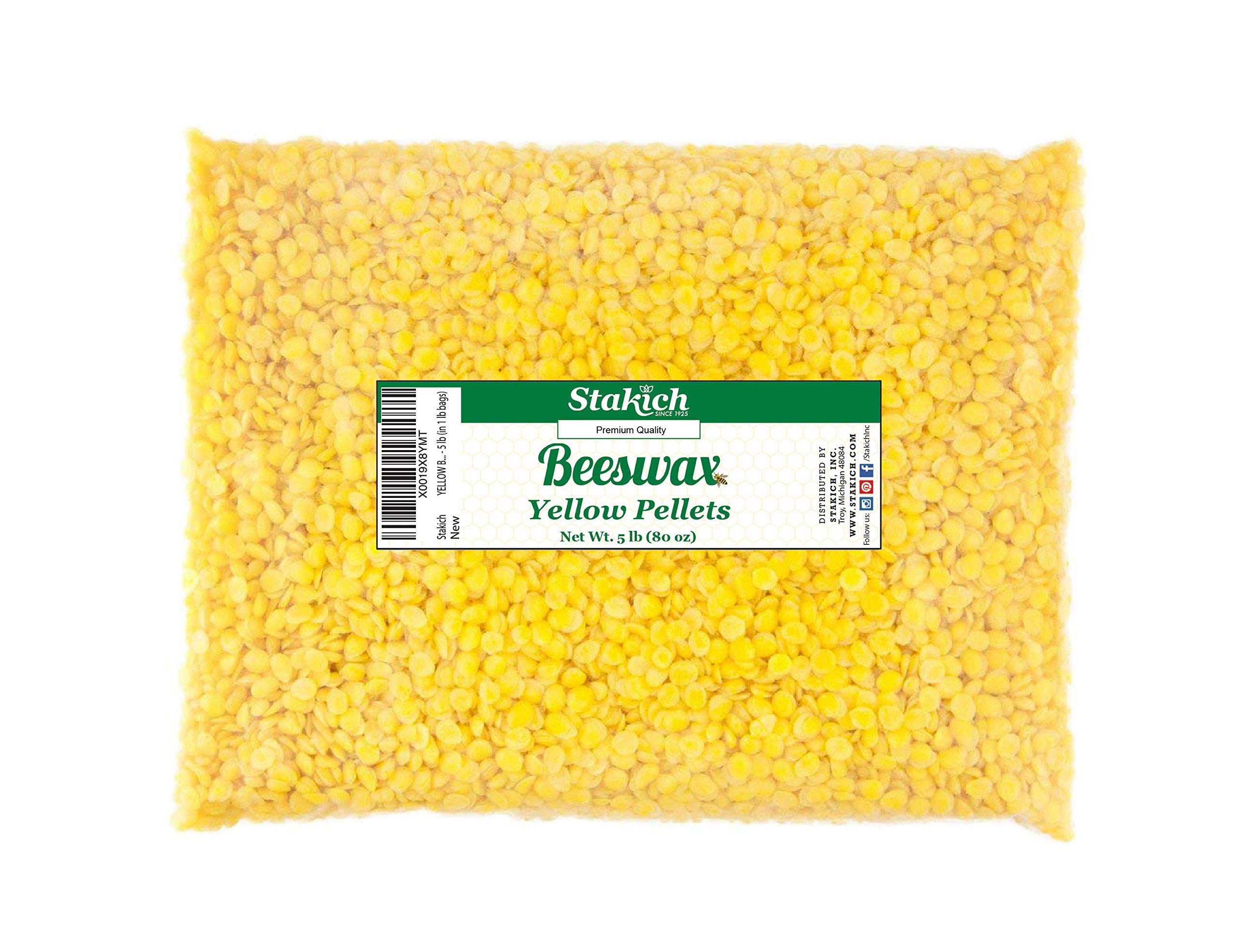 Stakich Yellow Beeswax Pellets - Natural, Cosmetic Grade - 5 Pound (in 1 Pound Bags)