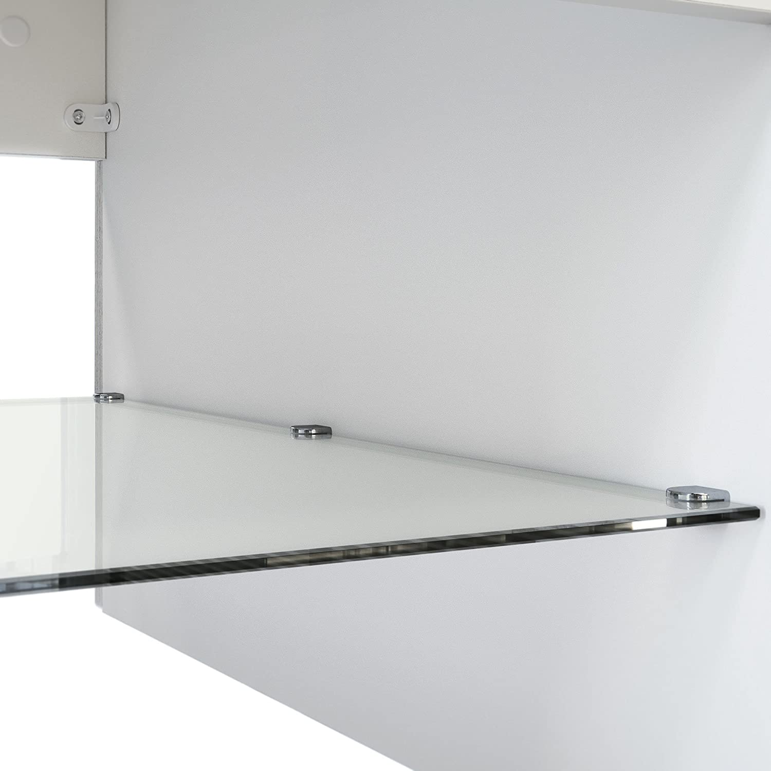 Vladon Coffee Table Side Table Clip in White with Offsets in Grey High Gloss