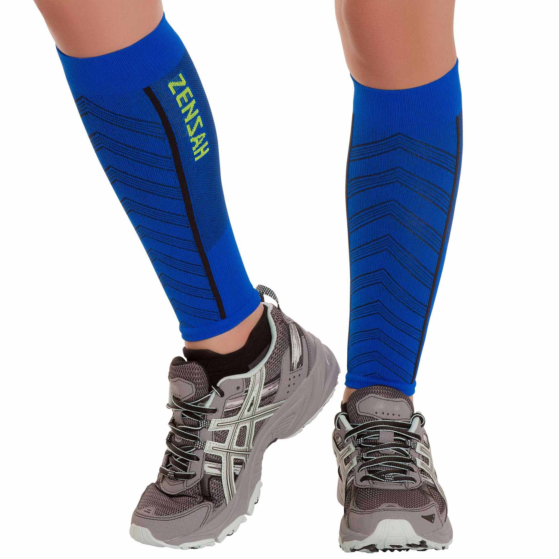 Zensah Featherweight Compression Ultra-Light Calf Sleeves, Sporty Blue, Large by Zensah