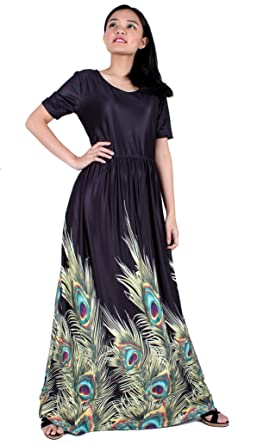 2e72673c834e3 Maxi Dress Long Summer Women Party Night Plus Size Peacock Floral Casual  Sleeve A Line Sundress