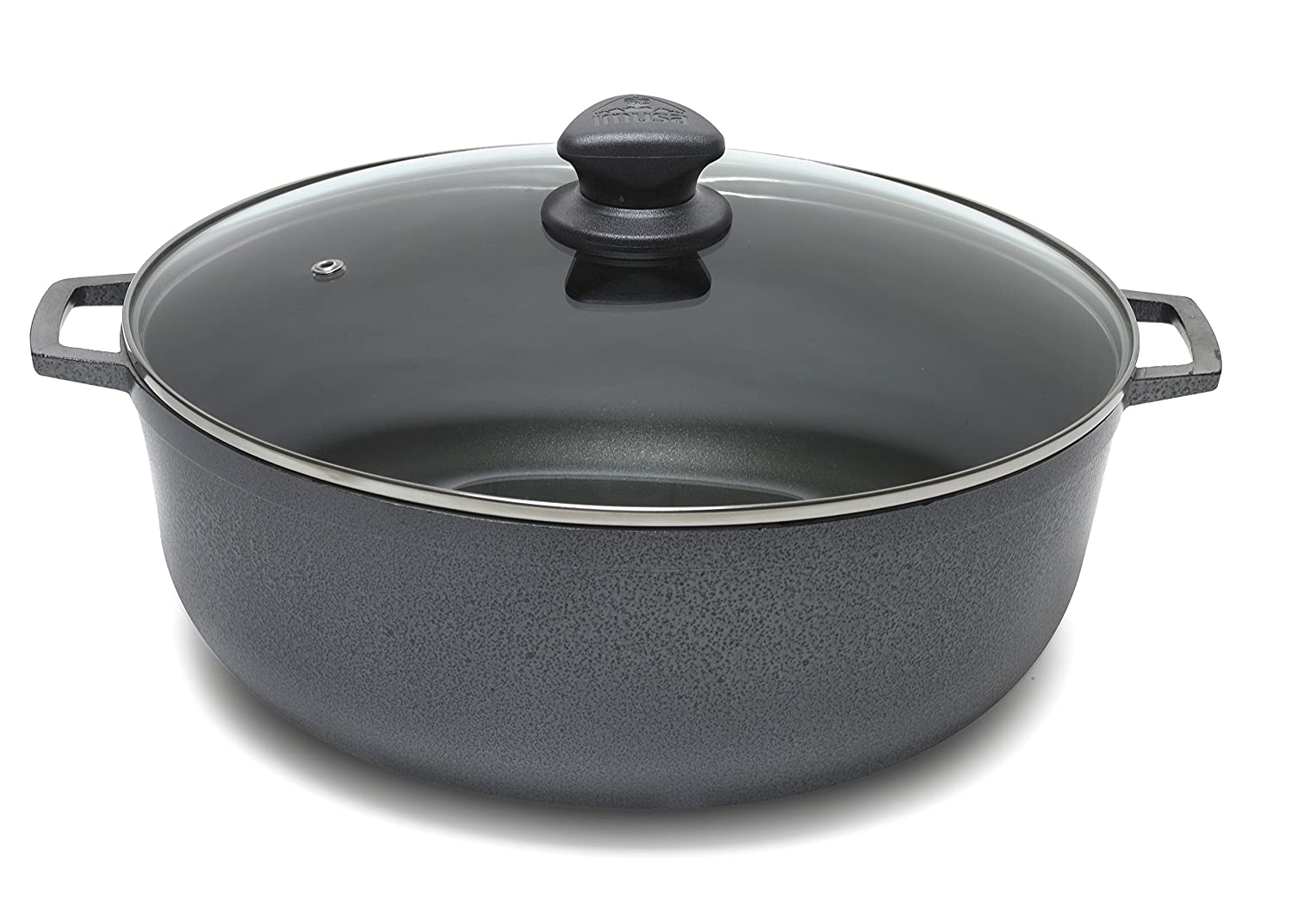 IMUSA USA GAU-86626T Colombian Nonstick Caldero with Porcelain Hammered Finish 4.8-Quart, Dark Gray