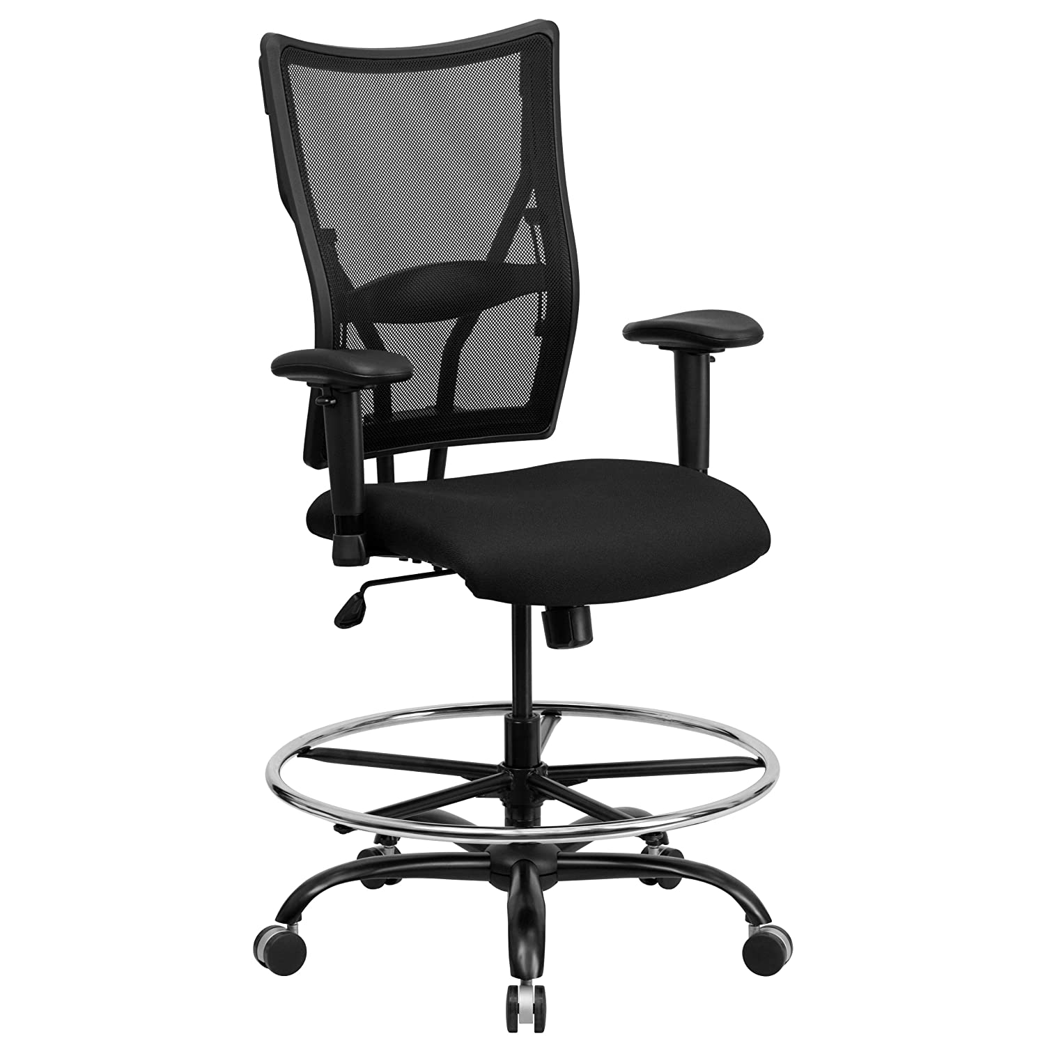 Flash Furniture HERCULES Series Big & Tall 400 lb. Rated Black Mesh Ergonomic Drafting Chair with Adjustable Arms -