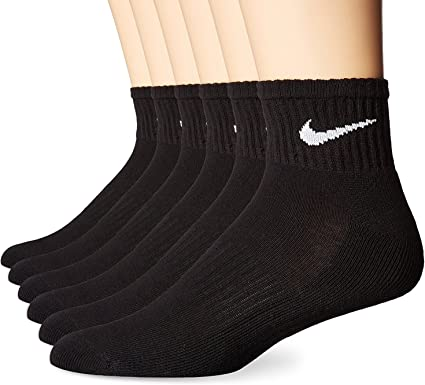 Nike Mens Performance Cushion Quarter Socks (6 Pairs), Black/White, Large