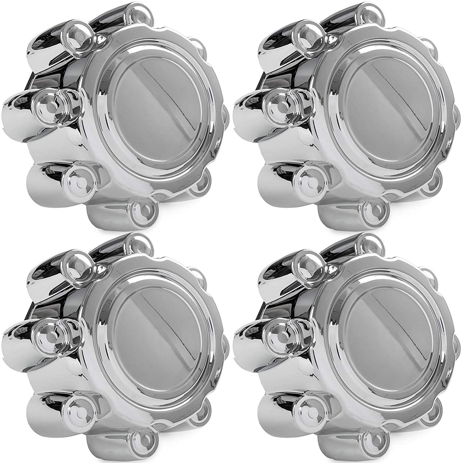 4x Chrome Center Caps Wheel Lug Nut Hub Cap Covers for 1999-2005 Ford F350 SuperDuty (SRW) KapscoMoto