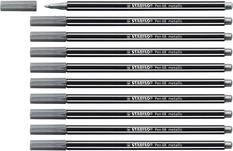 STABILO Pen 68 metallic Verde Metallizzato Pennarello Premium Metallizzato Confezione da 10