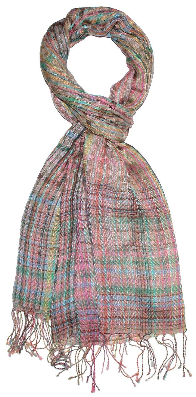 Lorenzo Cana High End Luxus Schaltuch 70 x 180 cm aus flauschiger Wolle kombiniert mit Modal Stola Umschlagtuch Schal Markenschal gewebt mehrfarbig