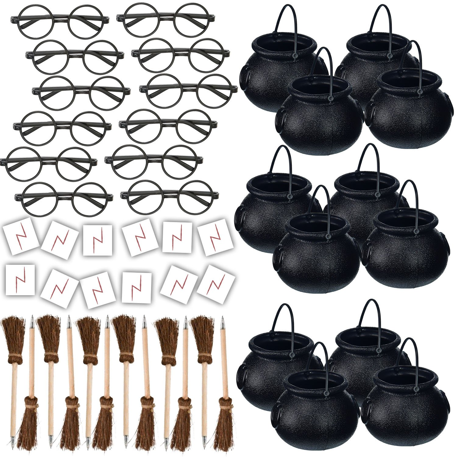 HeroFiber Wizard Party Favors for 12 - Includes Broom Pens, Cauldron, Glasses, and Lightning Scar Tattoos - Perfect for a Wizard School Theme Birthday Party (12 of each)