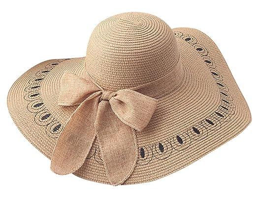 FEOYA Chapeau de Soleil Femme Paille Pliable Capeline d été Élégante Hat  Plage Anti Soleil f72d1540418