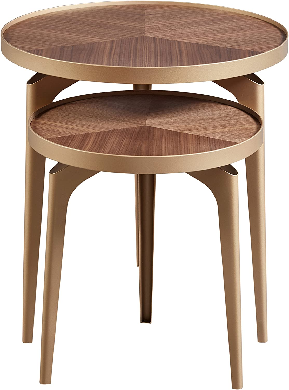 Amazon Brand – Rivet Mid-Century Nesting Metal Side Table, Set of 2, Brass and Walnut