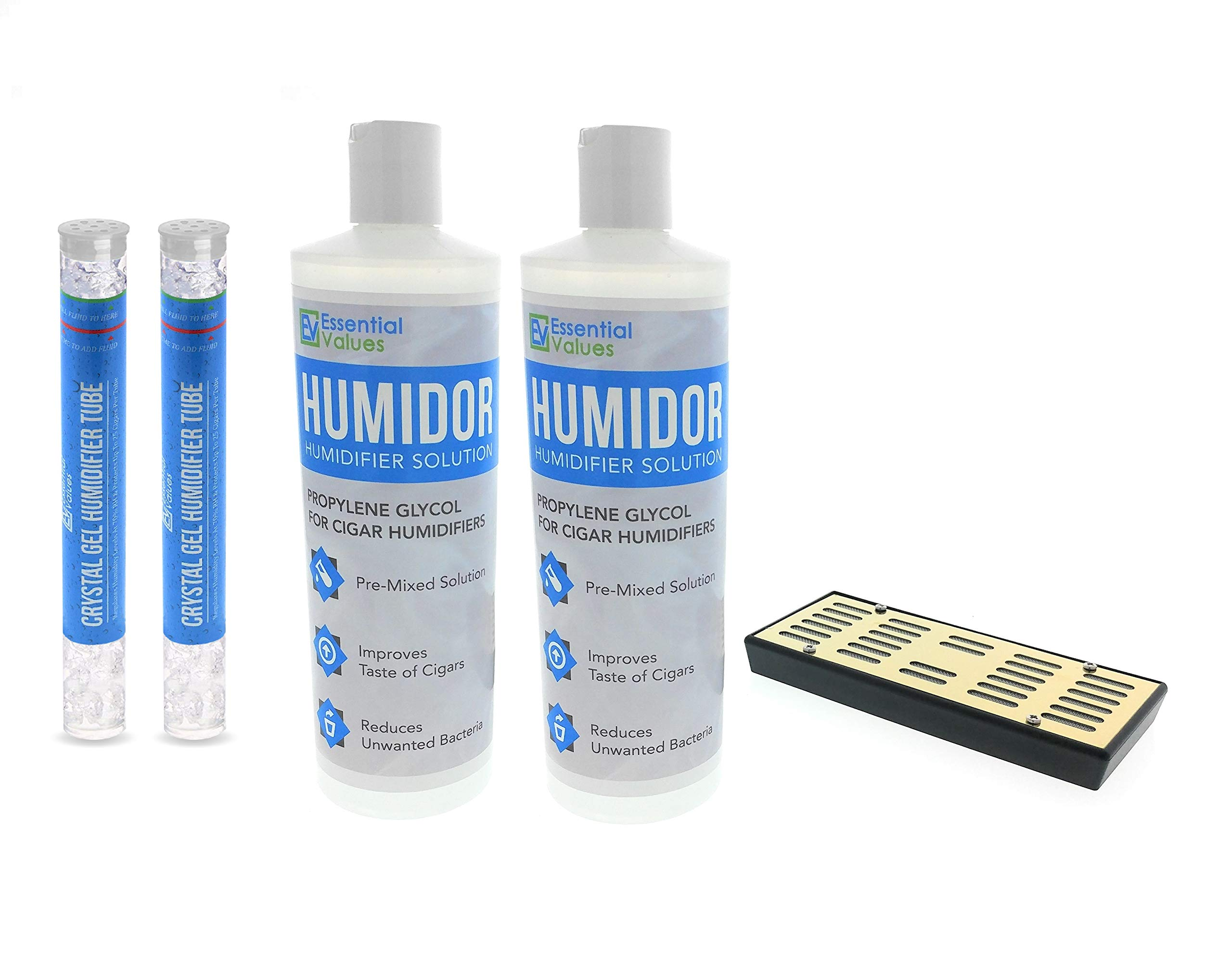 Humidor Solution & Cigar Humidor Humidifier Combo, 16oz Propylene Glycol and Cigar Humidifier for 75-250 Cigars by Essential Values (Humidifier/Gel & 2 Pack Solution)