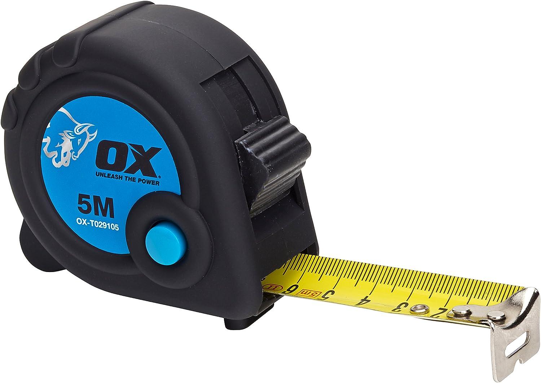OX Tools OX-T029105 OX Comercio 5M Cinta Métrico Solo, negro/azul, 5 m