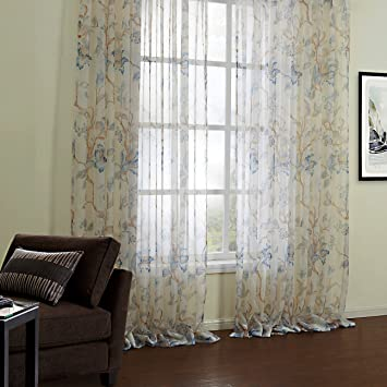 Floral Sheer Curtains For Bedroom Voile