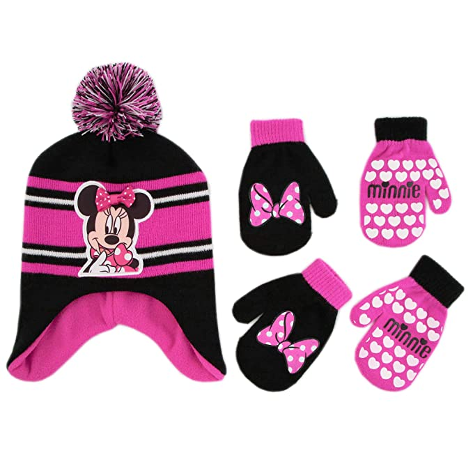 2ce394aec929 Amazon.com  Disney Minnie Mouse Hat and 2 Pair Mittens Cold Weather ...