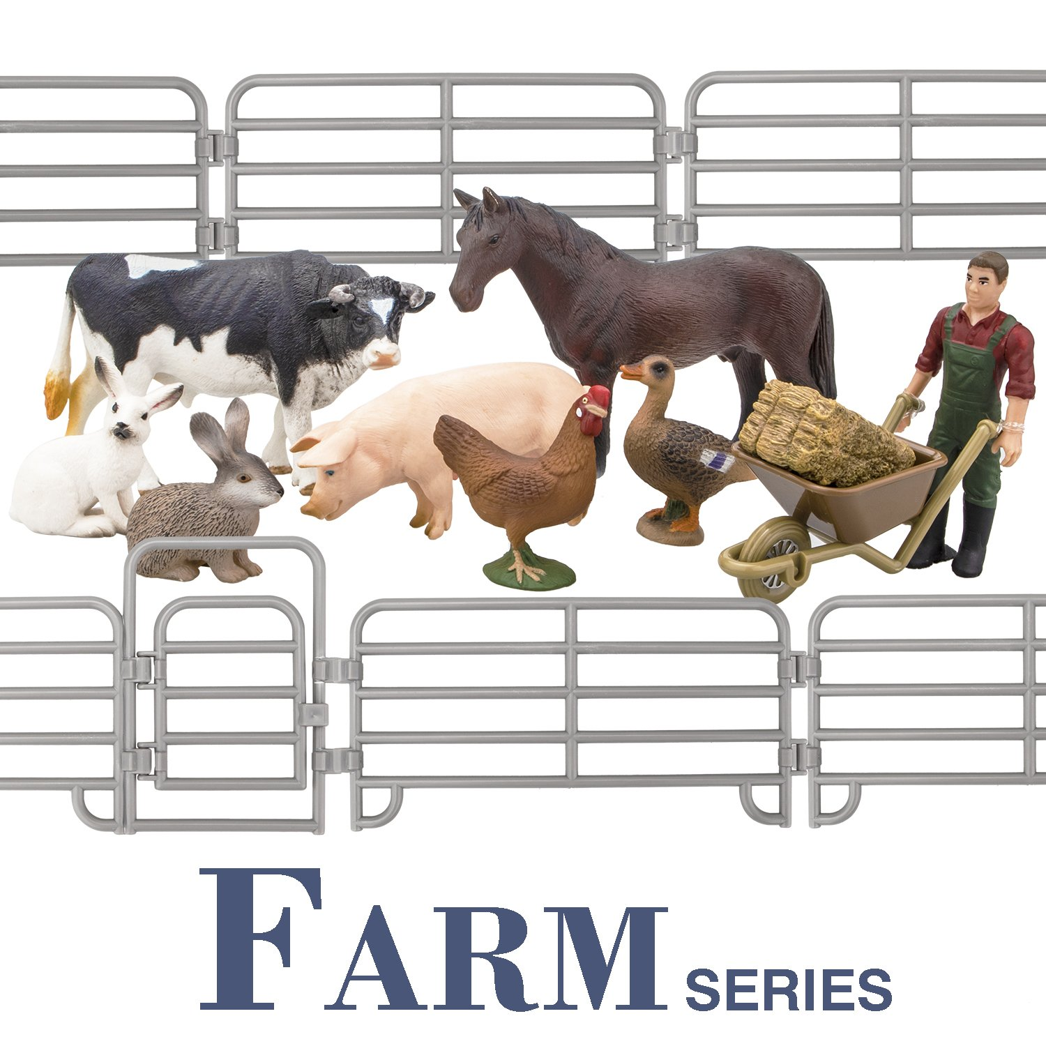 Toymany Farm Animal Figures Gift Toys Set with Fence, Realistic Farm Animals Playset Includes Farmer Horse Cow Pig Hen Duck Rabbits & Accessories, Birthday Gift For Kids Toddlers Children