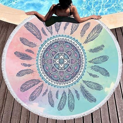 GTES Plumas Borla Mandala Tapestry Boho Ronda Toalla de Playa Rosa y Azul Manta Sunblock Bohemia