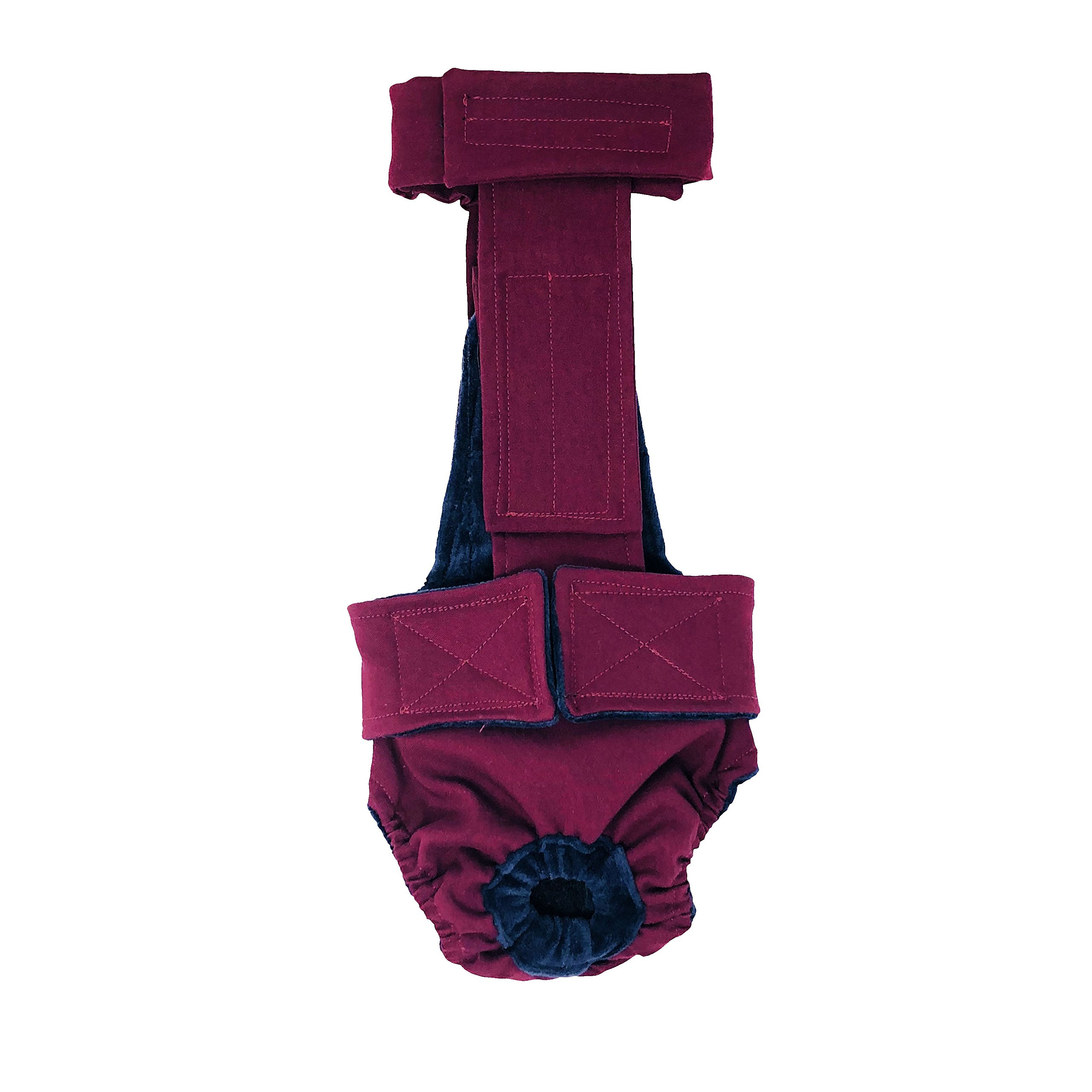 Barkertime Dog Diaper Overall - Made in USA - Merlot Red Escape-Proof Washable Dog Diaper Overall, XXL, Without Tail Hole for Dog Incontinence, Marking, Housetraining and Females in Heat