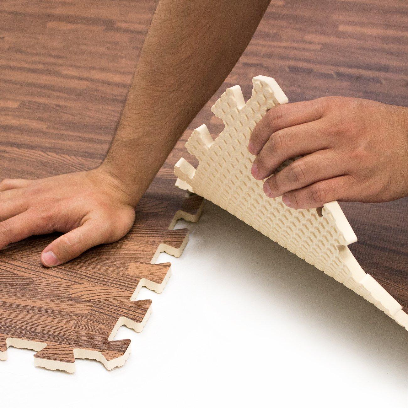 Sorbus Interlocking Floor Mat Print, Wood Grain - Dark (6-Piece) by Sorbus (Image #7)