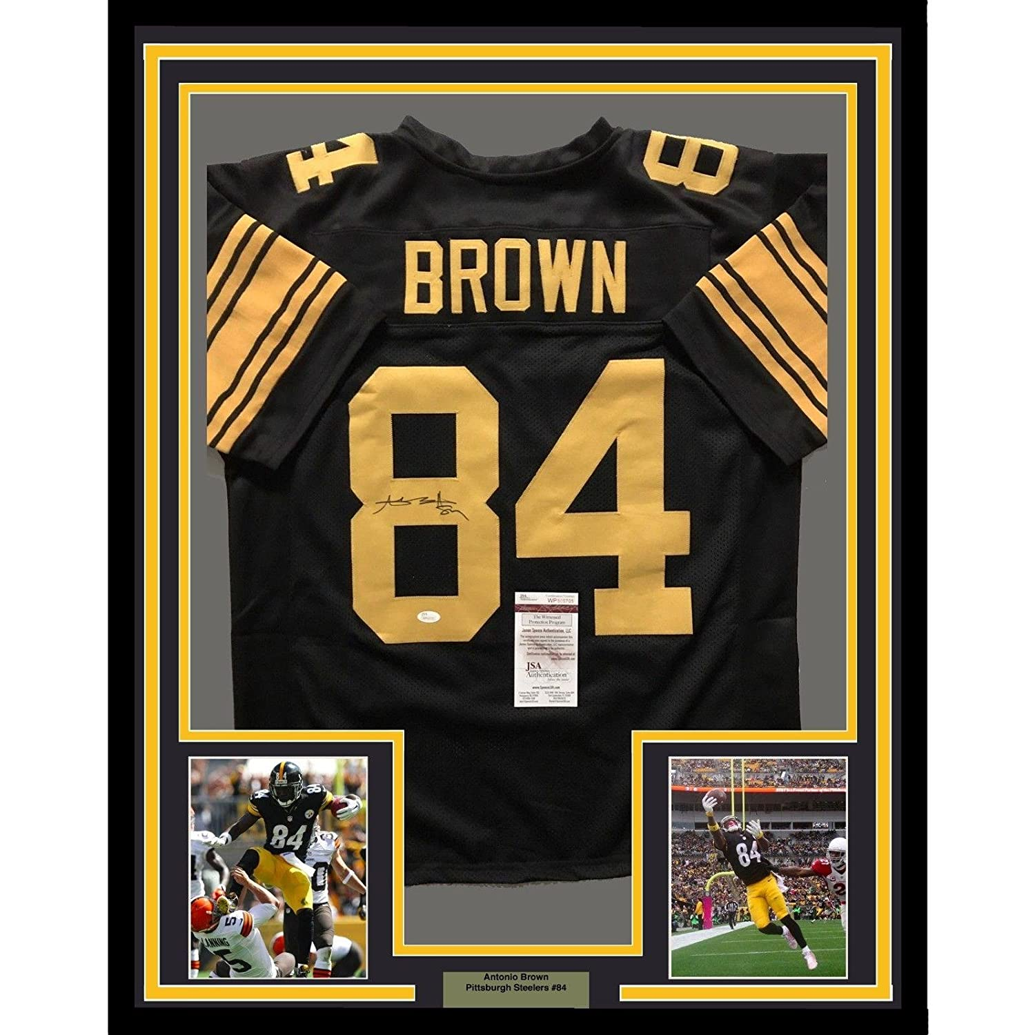 50bd232f1ba 916056 a7e12 f5007  cheap on sale signed antonio brown jersey framed 33x42  color rush coa jsa certified 9ddcd 94772
