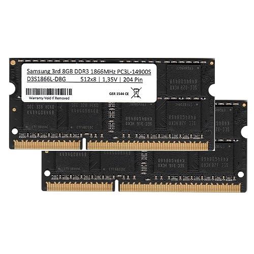 Samsung 16 GB 2 x 8 GB Dual Channel kit DDR3 1866 MHz PC3L 14900s So DIMM Low Voltage portátil Memoria RAM