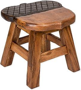 Sea Island Imports Acorn Design Hand Carved Acacia Hardwood Decorative Short Stool