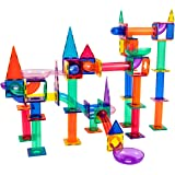 PicassoTiles Marble Run 150-Piece Magnetic Tile Race Track Toy Play Set STEM Building & Learning Educational Magnet…