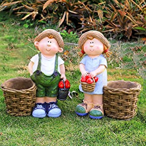 QAQWER Set of 2 Boy and Girl Garden Figurines, Colorful Simulation Resin Sculpture with Flower Baskets That Can Grow Plants, Multifunctional Art Decoration for Patio Yard Lawn Porch Outdoor