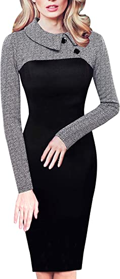 Women's Retro Chic Color Block Lapel Career Tunic Dress