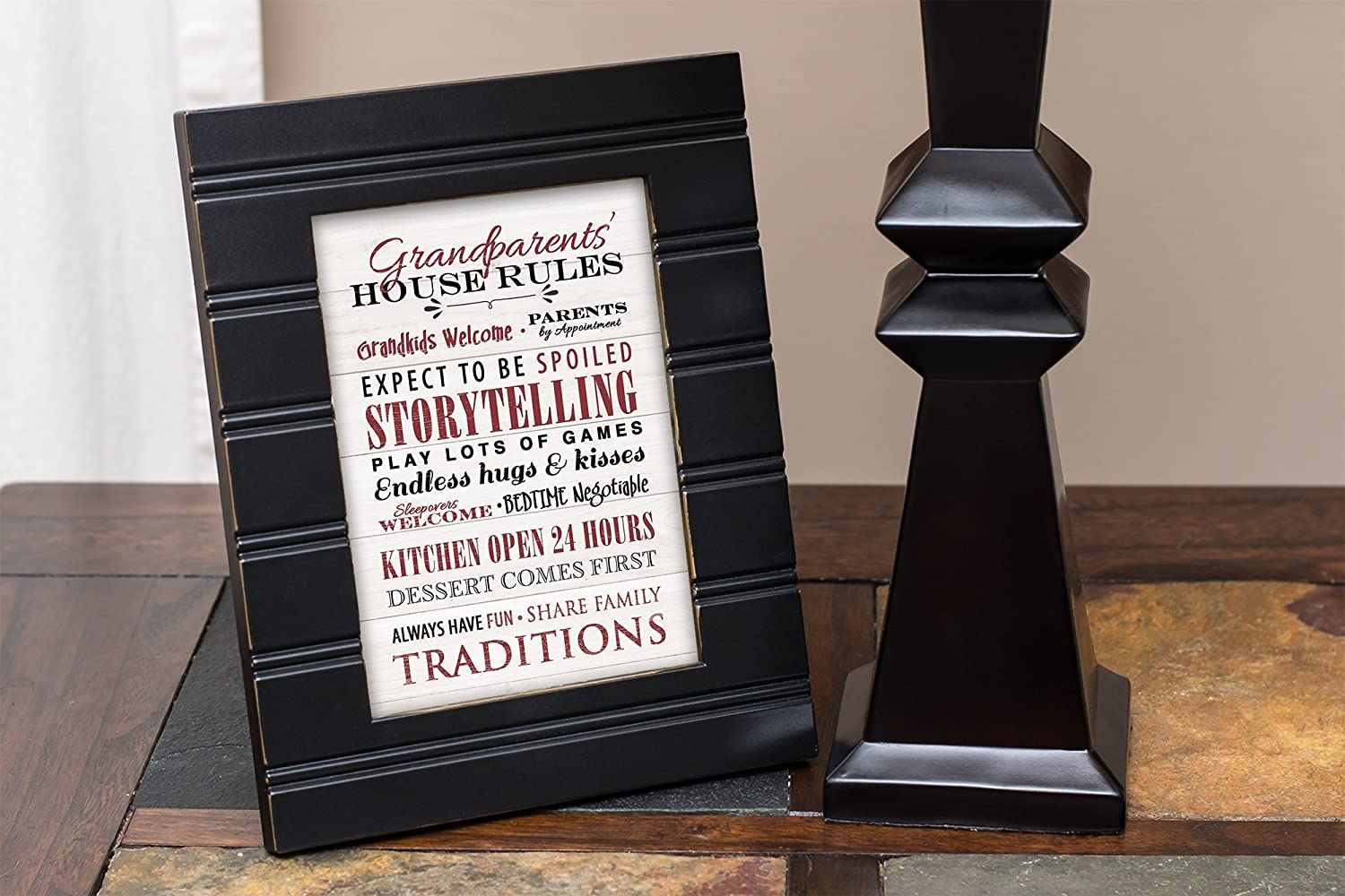 Grandparents House Rules Black with Gold Trim 8 x 10 Framed Wall Art Plaque