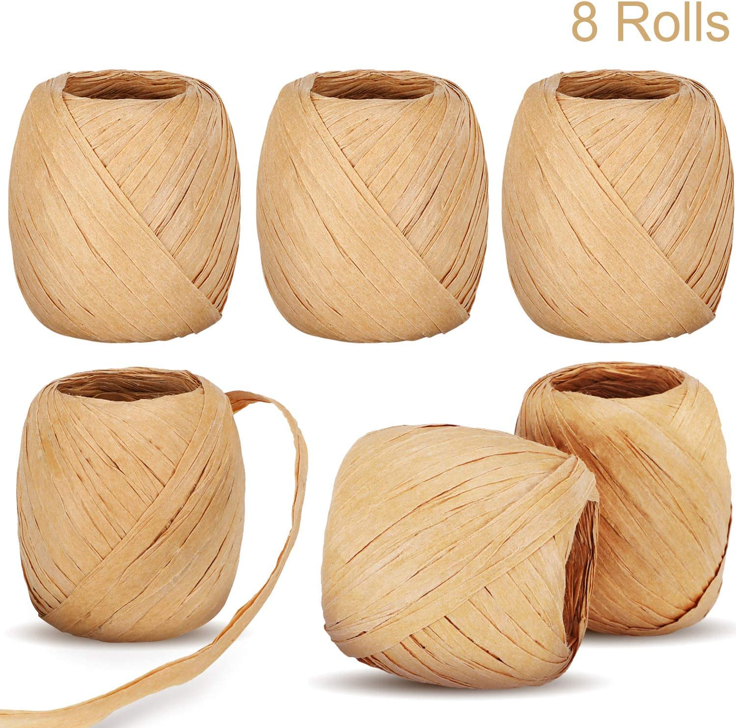 Color Set 3 Blulu 8 Rolls Raffia Paper Ribbons Packing Paper Twine Raffia Packing Rope for Holiday Gift DIY Craft Decoration by 175 Yards
