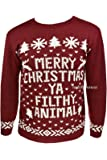 """New Mens Womens Xmas Jumpers Novelty Sweater Knitted Retro Pullover Burgundy """"Merry Christmas Ya Filthy Animal"""" (S/M)"""