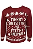 """New Mens Womens Xmas Jumpers Novelty Sweater Knitted Retro Pullover Burgundy """"Merry Christmas Ya Filthy Animal"""""""