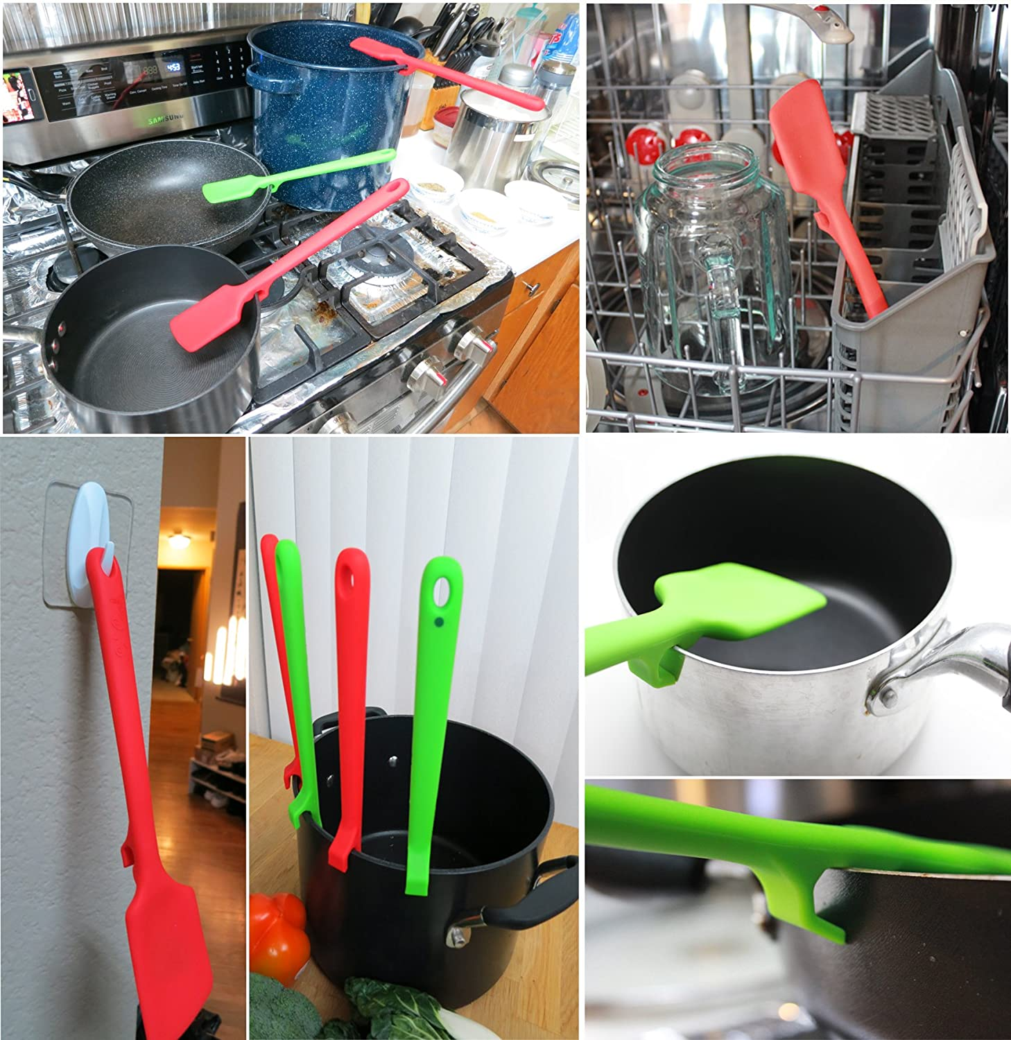 Premium One Body with super strong Nylon Core Cooking Spoonula with build in Hook to hang the Spoonula on the side of any cooking pan Rintik Le Cook Spoonula Green