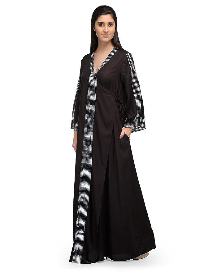9b635c7bdd Patrorna Blended Women s Wrap Nighty Night Dress Gown in Black (Size S-7XL