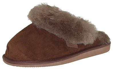 Extra Dicke Lammfell Pantoffeln mit Ledersohle Für Damen und Herren, Farben:Braun, Schuhgröße:41