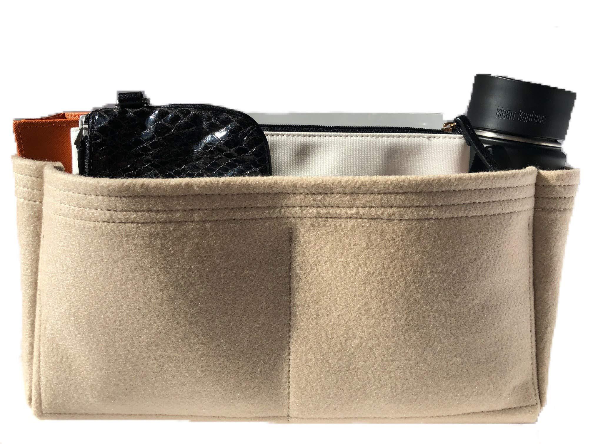 Purse Organizer Insert for LV Neverfull Handbag - Fits inside Louis Vuitton Neverfull GM bag - Thick Wool Blend Felt (GM, Beige)