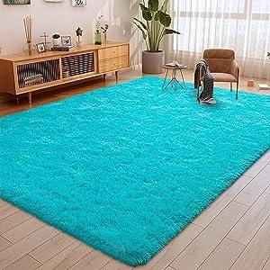 ULTRUG Fluffy Area Rugs for Bedroom, Soft Shaggy Rug for Living Room, Nursery Indoor Rugs Plush Floor Carpet Non-Slip Furry Play Mat for Kids Girls Room Modern Home Decor, 4 x 5.3 Feet Blue