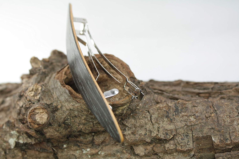 Haarspange federleicht//schwarze Eiche gekalkt//Intarsie//Einzelst/ück ! 70mm