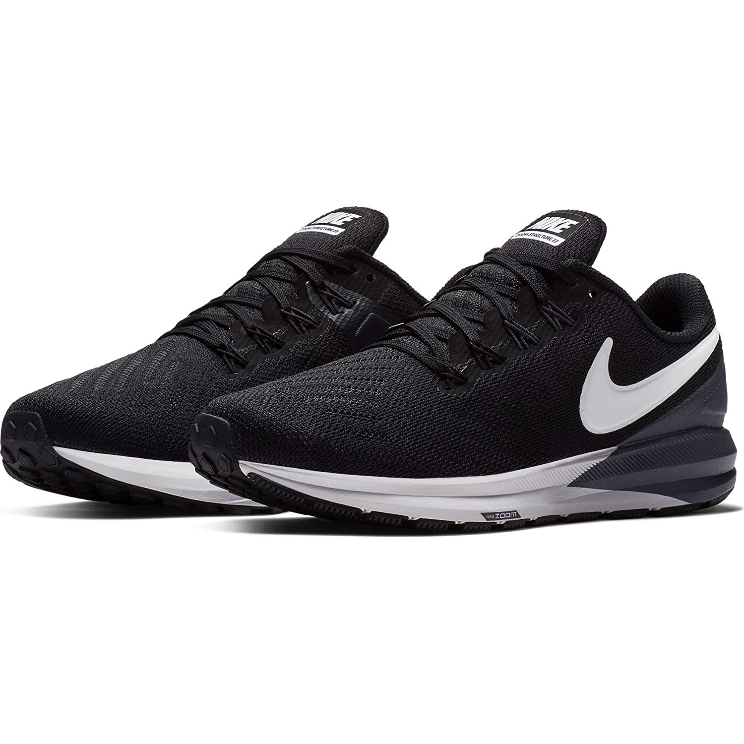 reputable site e8500 9433e Nike Air Zoom Structure 22 Women's Running Shoe (8.5 W US,  Black/White/Gridiron)