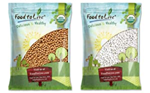 Organic Best Hummus Beans Bundle - Organic Garbanzo Beans, 5 Pounds and Organic Great Northern Beans, 5 Pounds - Non-GMO, Kosher, Raw, Sproutable, Vegan