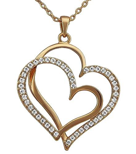 8dec23469c91 hanessa Mujer de joyas de oro Collar de cadena colgante con doble de  corazones rosa de