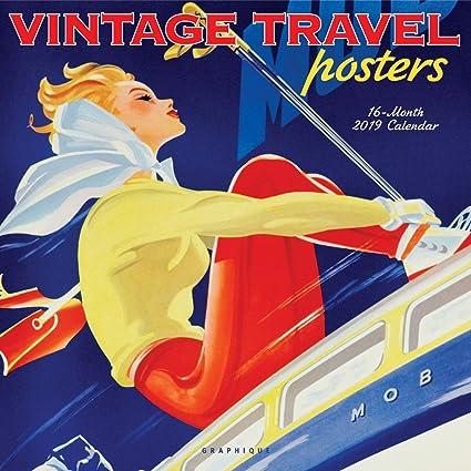 Graphique Vintage Travel Posters Wall Calendar, 16-Month 2019 Wall  Calendar, 3 Languages & Major Holidays, 2019 Calendar, 12