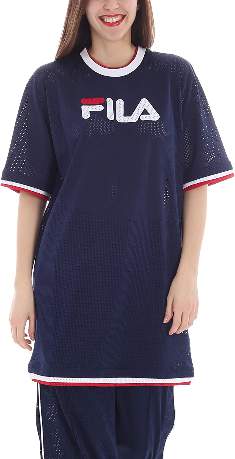 Fila Novita T-Shirt Drew Mesh Dress 684307 Blu Blue -White - Red