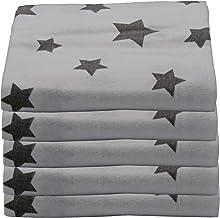 ClevereKids | Moltontücher Flanellwindeln Spucktücher | 5er-Pack bunt bedruckt | 75 x 80 | OEKO-TEX | Kuschelqualität (Mixed Stars weiß-hellgrau)
