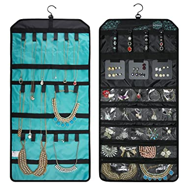 Amazoncom BAGSMART Doublesided Hanging Jewelry Organizer Roll up